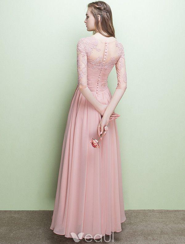 Glamorous Evening Dresses V-neck Ruffle Pink Chiffon Dress With Sleeves