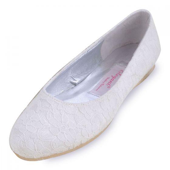 Platte Kant Satijn Bruids Schoenen Handgemaakte Custom Trouwschoenen Witte Schoenen