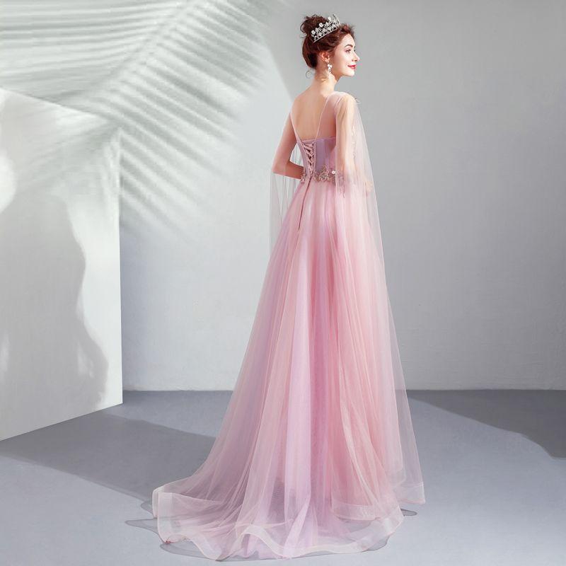 Elegant Candy Pink Formal Dresses 2019 A-Line / Princess Scoop Neck Lace Flower Crystal Short Sleeve Backless Floor-Length / Long Prom Dresses