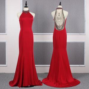 Mode Rot Durchsichtige Abendkleider 2020 Meerjungfrau Rundhalsausschnitt Ärmellos Perlenstickerei Sweep / Pinsel Zug Rüschen Festliche Kleider