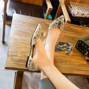 Piękne 2017 Srebrny Wieczorowe Faux Skóra Kryształ Cekinami Płaskie Na Platformie Buty Ślubne