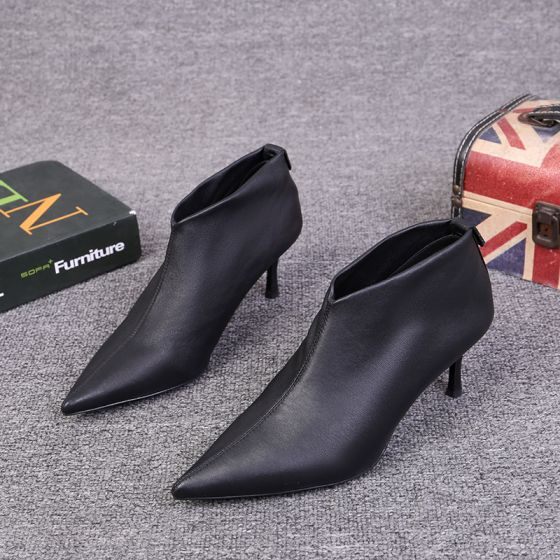 Mote Fine Svart Casual Ankel Kvinners støvler 2021 Lær 6 cm Stiletthæler Spisse Pumps