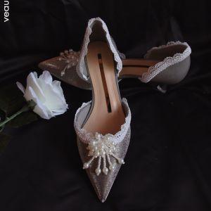 Elegant Grå Oppnevning Perle Sandaler Dame 2020 Lær Blonder Blomst 4 cm Stiletthæler Lav Hæl Spisse Sandaler