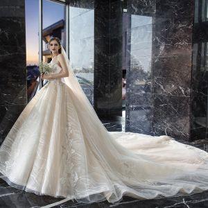 fa6c94209e Luksusowe Szampan Suknie Ślubne 2019 Princessa Kochanie Bez Rękawów Bez  Pleców Aplikacje Z Koronki Cekiny Frezowanie