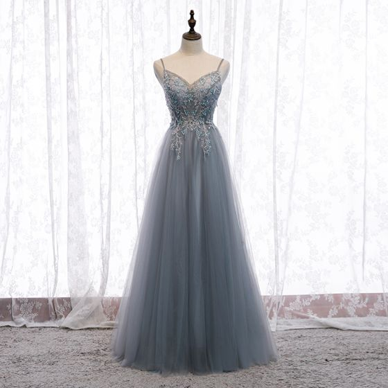 Charming Grey Evening Dresses  2020 A-Line / Princess Spaghetti Straps Beading Crystal Sequins Sleeveless Backless Floor-Length / Long Formal Dresses