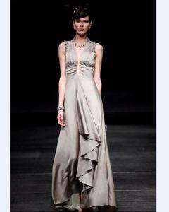 Empire Sleeveless Floor-length Silk Women's Evening Dress