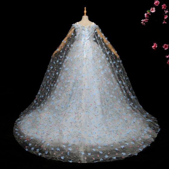 Eleganta Himmelsblå Brudnäbbsklänning 2017 Balklänning Spets Appliqués Axelbandslös Ärmlös Domstol Tåg Klänning Till Bröllop