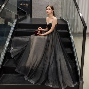 Chic / Beautiful Black Evening Dresses  2019 A-Line / Princess Sweetheart Beading Lace Flower Sleeveless Backless Floor-Length / Long Formal Dresses