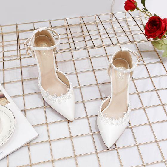 Elegant Elfenben Brudesko 2020 Perle Ankelstropp Blonder Blomst 9 cm Stiletthæler Spisse Bryllup Sandaler