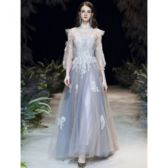 Stilig Himmelen Blå Selskapskjoler 2020 Prinsesse Scoop Halsen Perle Blonder Blomst Appliques 3/4 Ermer Ryggløse Feie Tog Formelle Kjoler