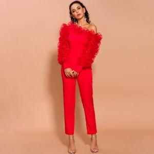 Mode Rouge Combinaison 2020 Une épaule Gonflée Manches Longues Longueur Cheville Robe De Soirée