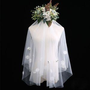 Fine Hvit Korte Brudeslør Appliques Beading Blomst Chiffon Bryllup Tilbehør 2019