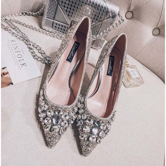 Sparkly Crystal Wedding Shoes Silver 2017 Glitter High Heels Stiletto Pointed Toe 7 Cm Pumps