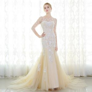 Romantisch Champagner Brautkleider 2017 Mermaid 3/4 Ärmel Applikationen Mit Spitze Blumen Perlenstickerei Kristall Rüschen Hof-Schleppe