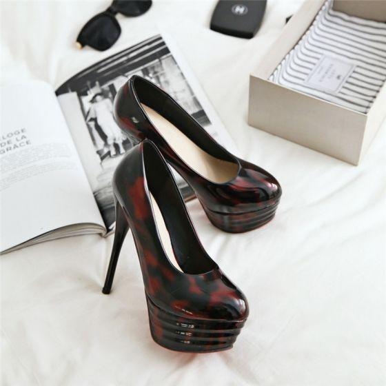 Hermoso Borgoña 2017 13 cm High Heels Noche Charol Punta Estrecha Zapatos De Mujer
