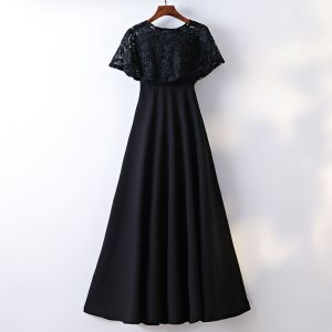 Chic / Beautiful Black Formal Dresses 2017 A-Line / Princess Lace Flower Scoop Neck Short Sleeve Ankle Length Evening Dresses