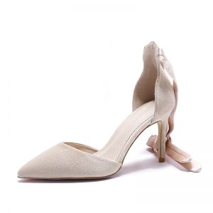 Chic / Beautiful Beige Cocktail Party Womens Shoes 2020 Ankle Strap 8 cm Stiletto Heels Pointed Toe Heels