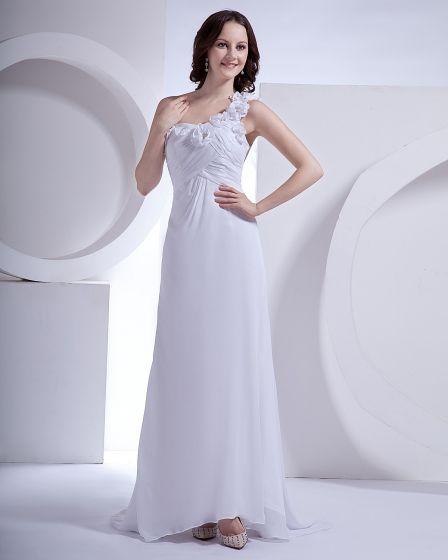 Chiffon One Shoulder Flower Court Sheath Bridal Gown Wedding Dress