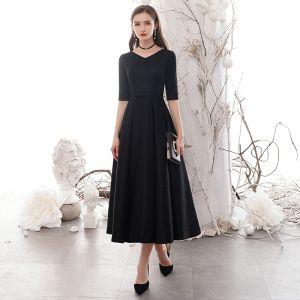 Asequible Negro de fiesta Vestidos de graduación 2020 A-Line / Princess V-Cuello 1/2 Ærmer Bowknot Cinturón Glitter Poliéster Té De Longitud Vestidos Formales