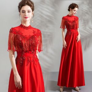 Chinese style Red Evening Dresses  2019 A-Line / Princess High Neck Short Sleeve Beading Tassel Ankle Length Ruffle Backless Formal Dresses