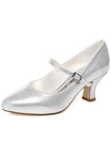 Chaussures De Mariée Sparkly Escarpins Chaussures De Mariage En Argent Avec Bride Cheville