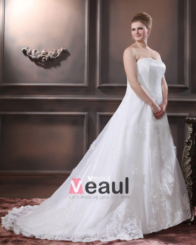 Satin Organza Beaded Applique Hand Flower Strapless Plus Size Bridal Gown Wedding Dresses