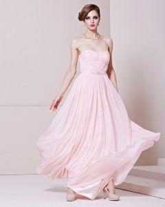 Bustier Longueur De Plancher De Perles Encolure Charmeuse Sans Manches Robe De Soirée De Femme