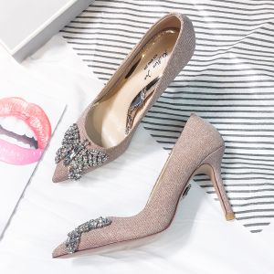 Modern / Fashion Pearl Pink Evening Party Pumps 2018 Leather Rhinestone Sequins 8 cm Stiletto Heels Pointed Toe Pumps