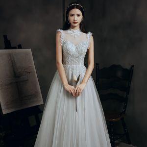 Vintage / Originale Gris Dansant Robe De Bal 2020 Princesse Transparentes Col Haut Sans Manches Perlage Longue Volants Robe De Ceremonie