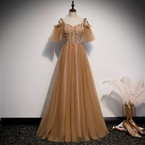 Chic / Beautiful Brown Evening Dresses  2020 A-Line / Princess Off-The-Shoulder Spaghetti Straps Short Sleeve Appliques Lace Floor-Length / Long Ruffle Backless Formal Dresses