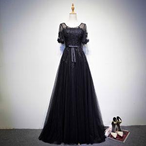 Discount Black Prom Dresses 2018 A-Line / Princess Scoop Neck Short Sleeve Appliques Lace Bow Sash Floor-Length / Long Ruffle Backless Formal Dresses