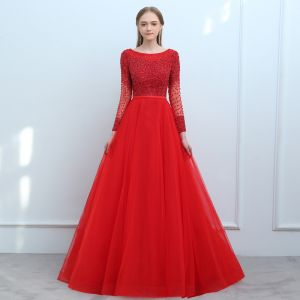 Chic / Beautiful Red Prom Dresses 2018 A-Line / Princess Beading Sequins Sash Scoop Neck Backless Long Sleeve Court Train Formal Dresses