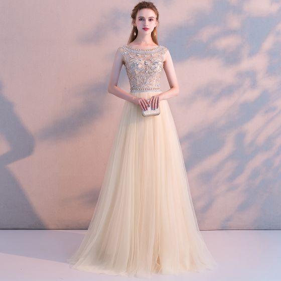 a4cb9dea Stylowe / Modne Szampan Sukienki Wieczorowe 2018 Princessa Kryształ  Rhinestone Wycięciem Bez Pleców Kótkie Rękawy Długie Sukienki Wizytowe