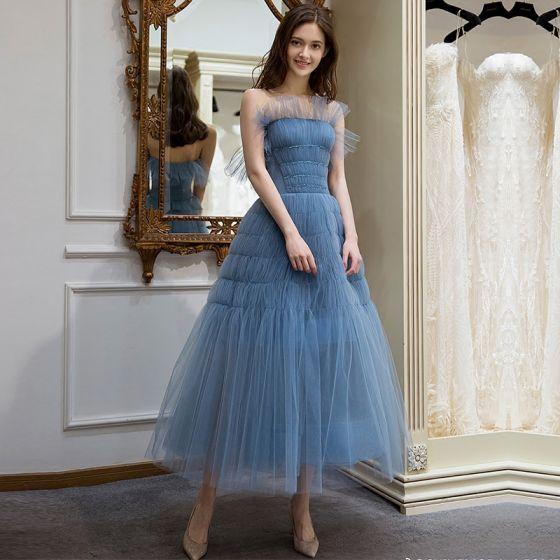 Elegantes Océano Azul Verano de fiesta Vestidos de graduación 2018 A-Line / Princess Sin Tirantes Sin Mangas Té De Longitud Ruffle Sin Espalda Vestidos Formales