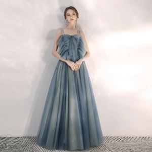 Elegant Ocean Blue Evening Dresses  2020 A-Line / Princess Spaghetti Straps Sleeveless Beading Rhinestone Glitter Tulle Floor-Length / Long Ruffle Backless Formal Dresses