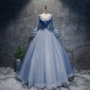 Chic / Beautiful Sky Blue Prom Dresses 2017 Ball Gown V-Neck Long Sleeve Appliques Flower Beading Pearl Rhinestone Bow Sash Floor-Length / Long Ruffle Backless Formal Dresses
