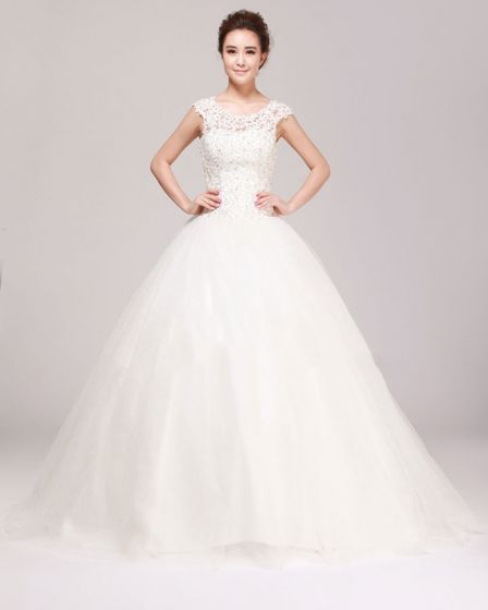 Round Neck Rhinestone Applique Lace A Line Wedding Dress