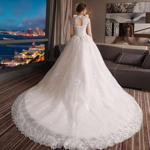 Chic / Beautiful Church Hall Wedding Dresses 2017 Lace Beading Sequins Appliques Backless High Neck Sleeveless Chapel Train White Ball Gown