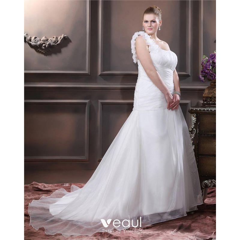 Taffeta Hand Flower Ruffle One Shoulder Plus Size Bridal Gown