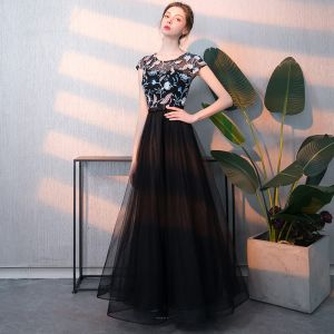 Elegant Black Prom Dresses 2018 A-Line / Princess Embroidered Scoop Neck Sleeveless Floor-Length / Long Formal Dresses