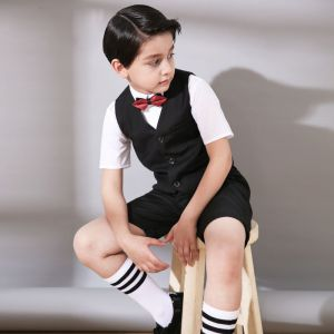 Modest / Simple Wedding Boys Wedding Suits 2017 Black Short Sleeve
