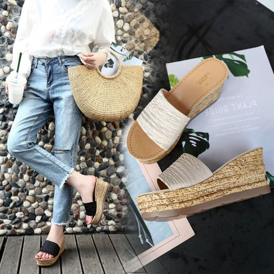 Discount Beige Casual Womens Sandals 2018 Platform Wedges Open / Peep Toe Sandals