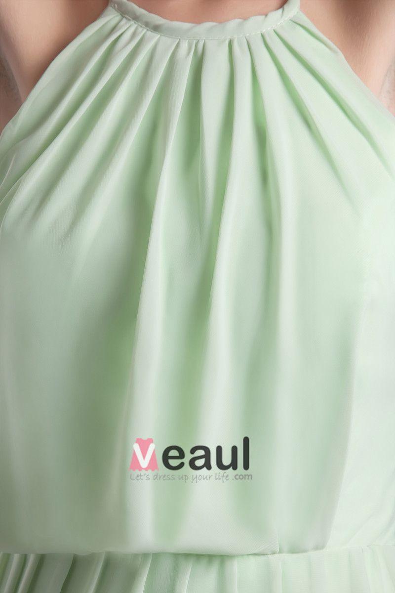 Mousseline De Soie Halter Genou Robe De Demoiselle D'honneur De Longueur Plisse De Mode