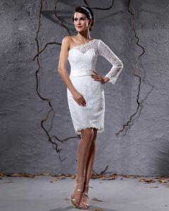 Elegante Spitze Satin Schrägen Einem Ärmel Knielange Kurz Brautkleider Mini