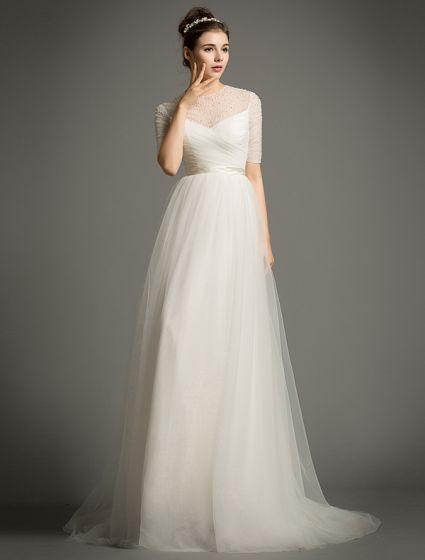 A-line Scoop Urringning Beading Paljetter Volanger Satin Skärp Organza Bröllopsklänning