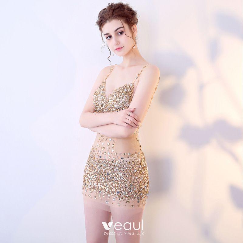 Sexy Champán Transparentes Vestidos De Noche 2018 Spaghetti Straps Sin Mangas Rhinestone Lentejuelas Rebordear Cortos Sin Espalda Vestidos Formales