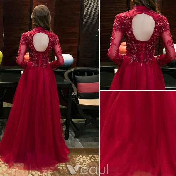 Sparkly Evening Dresses 2017 High Neck Applique Lace Burgundy Tulle Chinese Style Long Dress
