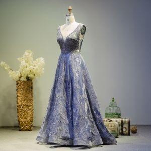 Luxe Bleu Roi Robe De Soirée 2019 Princesse V-Cou Perlage Cristal Sans Manches Dos Nu Longue Robe De Ceremonie