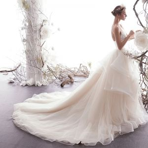 Elegant Ivory Wedding Dresses 2019 A-Line / Princess Spaghetti Straps Sleeveless Backless Cascading Ruffles Cathedral Train