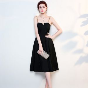 Modest / Simple Solid Color Black Evening Dresses  2019 A-Line / Princess Metal Spaghetti Straps Sleeveless Backless Knee-Length Formal Dresses